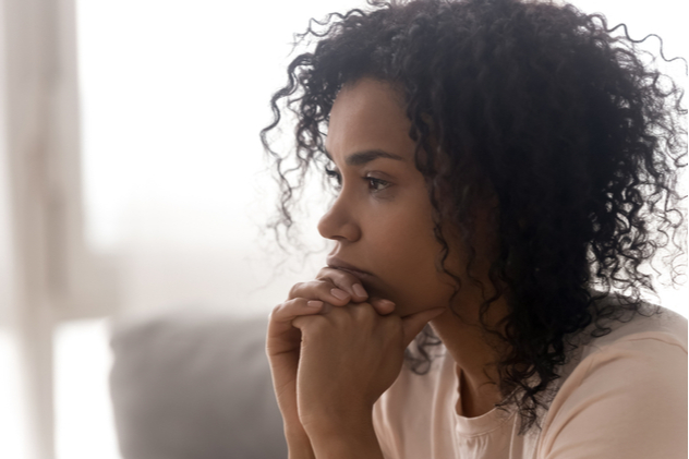 female feel despair lost in thoughts consider life trouble or drama